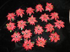 18 Vintage Miniature Christmas Light Poinsettia Clip-On Decorations