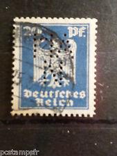 ALLEMAGNE EMPIRE GERMANY 1924, timbre perforé 351 oblitéré, PERFIN STAMP