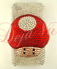 CRYSTAL BLING RHINESTONE 3D WHITE RED MARIO MUSHROOM COVER CASE IPHONE 4 4S