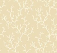 Wallpaper Designer Large Neutral Coral Pattern White and Beige on Beige