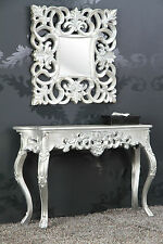 Mirror + Console as Set Antique Silver Luxurious Palatial Baroque Rococo 85 CM