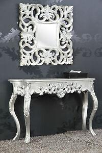Mirror + Console as Set Antique Silver Luxurious Palatial Baroque Rococo 85 CM