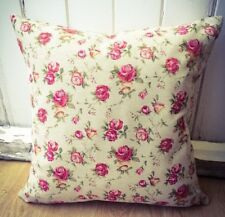 Handmade Roses Natural LINEN Cotton Cushion Cover. Various sizes