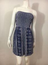 NWT OCEAN DRIVE Short Dress S Strapless Blue White Boho Print Rayon