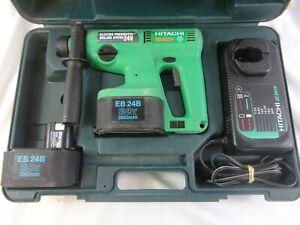 HITACHI DH20DV 24V CORDLESS HAMMER DRILL 2 Battery,s Charger 5 New 5/16x12 Bits