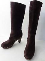 Womens 6M Brown SUEDE WOOD CLOG MID CALF HIGH HEEL BOOT Banana Republic