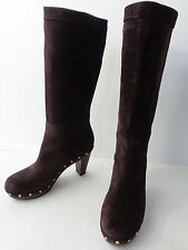 Womens 6M Brown SUEDE WOOD CLOG MID CALF HIGH HEEL BOOT Banana Republic