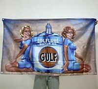 Gulf Gasoline Banner Motor Oil Girls Ad Tapestry Flag Artwork Poster Sign 3x5 ft