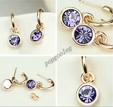 18K rose Gold GP purple Austria drills Crystals drop circle earring free ship