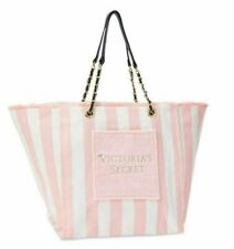 VICTORIAS SECRET WHITE PINK STRIPED CANVAS TOTE SHOPPING BEACH BAG w/CHAIN STRAP