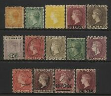 St Vincent Collection 14 QV Stamps Used / Unused Mounted
