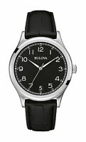 Bulova Men's 96B233 Classic Collection Quartz Black Dial Leather Strap Watch