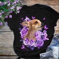 Purple Roses Chihuahua Tshirt Women Black M - 3XL