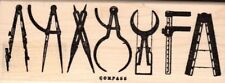 Tim Holtz Collection Compass sketch wood mounted Rubber stamp - New