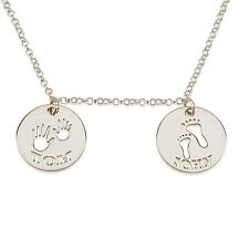 Sterling Silver Personalized Mom Necklace Footprint & Handprint Necklace -