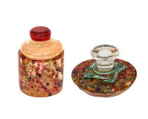USED Havdalah Set 2 pc. Glass & Resin  Dried Flowers Design Israel Ronit AKAVIA
