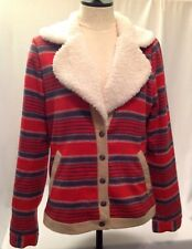 HURLEY NWOT Women's M Red Orange Tan Striped Blanket Jacket Coat Fleece Collar