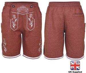 Mens Bavarian LEDERHOSEN OKTOBERFEST With Embroidery in Jersey Fabric Shorts