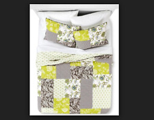 Green & Gray Tamire Quilt Set Green and Brown Twin Bedding Set Quilt & Sham
