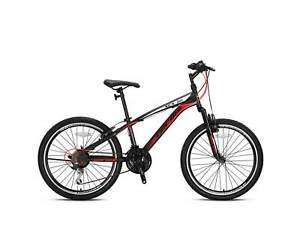 """Bici 26"""" MTB Geroni XCX 50 Ammortizzata Cambio 21V Nero/Rosso Bicicletta Acciaio"""