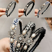 Women Diamond Jewel Gems Pearl Headband Crystal Hair Band Ladies Headwear