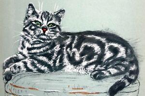 Black Striped Cat STUNNING GREEN EYES 1941 Gladys Emerson Cook Matted Art Print