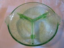 Vintage GREEN DEPRESSION GLASS Hocking Cameo Ballerina 3 Section Dish tab handle