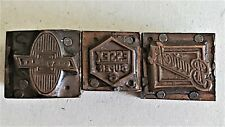 3 Pcs Vintage Copper Wood Letterpress Print Blocks Buick Essex Chevrolet Pb34