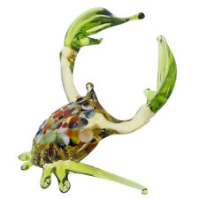 """Lampwork Hand Blown Glass Green Clawed Crab Figurine 3.5"""" Wide New"""