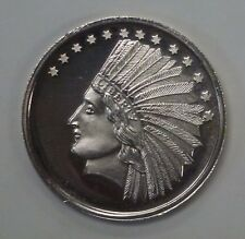 {Bjstamps} Indian Chief Headdress 1 ozt .999 Silver Round Eagle Reverse
