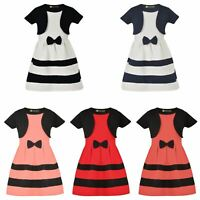 Girl Short Sleeve Dress Bolero Outfit Textured Bow Stripes Top Party Skirt 1-14Y