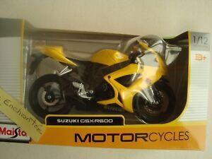 MINIATURE MOTO SUZUKI GSX R 600 1/12 MAISTO JAUNE NEUVE EN BOITE