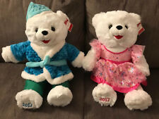 "2017 Walmart Christmas Snowflake Teddy Bears 20"" Girl pink dress & Boy blue robe"