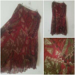 Vintage Boho Maroon Green Indian Maxi Skirt Size 20/22 Gypsy Peasant Prairie