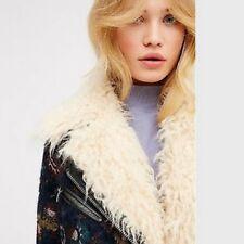 NWT FREE PEOPLE Jacquard Floral Wool Faux Fur Jacket Coat Medium M Navy $398