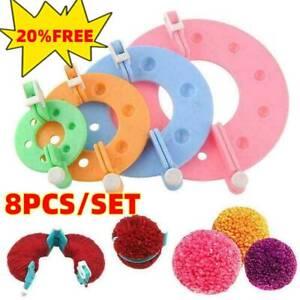 8Pcs Pompom Maker Kit Knitting Crafts 4 Different Sizes Plush Tool Ball Mak H5C4