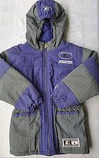 Vintage 90's Starter Puffer Jacket Youth L Nylon Purple Hooded Coat Parka