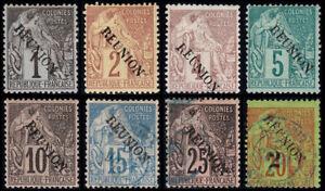 Reunion Scott 17-22, 24, 31 (1891) Mint/Used H F-VF, CV $94.00 B