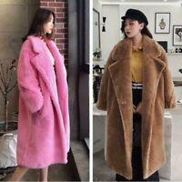 Warm Women's Teddy Bear Shearling Fur Coat Winter Loose Long Wool Jacket Outwear