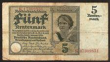 Billet 5 Rentenmark. Deutche Rentenbank. Berlin 2 Januar 1926