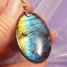 Great flash! 925 Silver Labradorite crystal pendant 11g, gift bag SN21028
