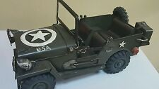 VINTAGE JEEP LARGE TOY MB-216 USA STAR ARMY GREEN TIN MODEL VEHICLE HANDMADE