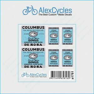 Bicycle Columbus GENIUS DE ROSA Custom DSB BUTTED Frame & Fork Decals Stickers