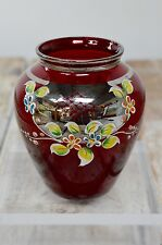 Czech Bohemian Cranberry Red & Gold Glass Hand Painted Flower Vase