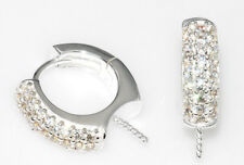 Sterling Silver 925, cubic zirconia clasp earring for pearls, beads 133 (1 pair)