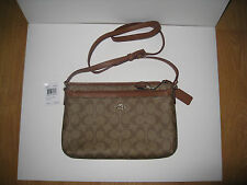 Coach F52657 Signature Coated Canvas Khaki Saddle East West Pop Crossbody Bag