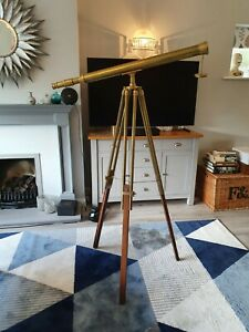 Nautical Vintage Marine Brass Finish Floor Standing Telescope With Wood tripod