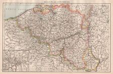 1896  LARGE ANTIQUE  MAP : BELGIUM AND LUXEMBURG