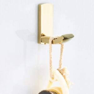 Wall Mounted Golden Brass Bathroom Towel Coat Hooks Single Robe Hook Hanger