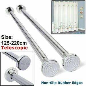 125-220cm Telescopic Extendable Shower Curtain Rail Pole Rod Bath Chrome UK